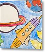 Kid's Painting Of Universe With Planets And Stars Metal Print