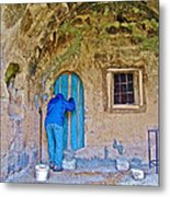 Knocking On A Blue Door Of Tufa Home In Goreme In Cappadocia-turkey  Metal Print