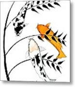 Koi Utsurimono Yellow Golden Ogon Bekko And Bamboo   Metal Print