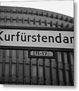 Kurfurstendamm Street Sign Berlin Germany Metal Print