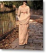 Lady In Regency Dress Walking Metal Print