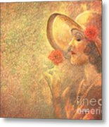 1-lady In The Flower Garden Metal Print