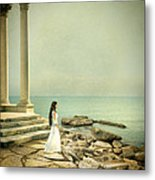 Lady In White By The Sea Metal Print