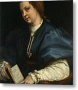 Lady With A Book Of Petrarch's Rhyme Metal Print
