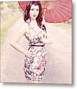 Lady With Red Parasol Metal Print