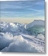 Lake Erie Ice Sunrise Metal Print