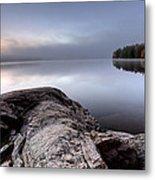 Lake In Autumn Sunrise Reflection Metal Print