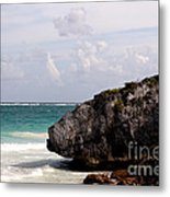Large Boulder On A Caribbean Beach Metal Print