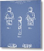 Lego Toy Figure Patent - Light Blue Metal Print by Aged Pixel