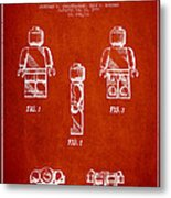 Lego Toy Figure Patent - Red Metal Print