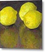 Three Lemons Metal Print