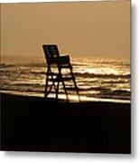 Lifeguard Chair In The Morning Metal Print