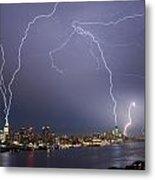 Lightening Over Manhattan Metal Print