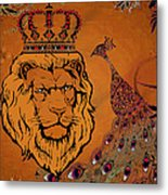 Lion And The Peacock Metal Print
