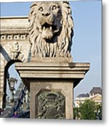 Lion Sculpture On Chain Bridge In Budapest Metal Print