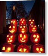Lit Pumpkins With Demon On Halloween Metal Print