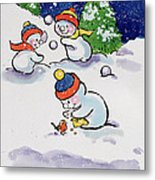 Little Snowmen Snowballing Metal Print