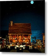 Log Cabin And Out House  Scene With Old Vintage Classic 1908 Model T Ford In Color Metal Print
