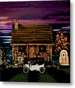 Log Cabin Scene At Sunset With The Old Vintage Classic 1913 Buick Model 25 Metal Print