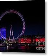 London Eye In Red White And Blue Metal Print