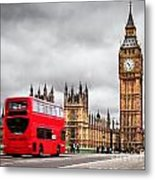 London The Uk Red Bus In Motion And Big Ben Metal Print