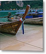 Longtail Boats Moored On The Beach Metal Print