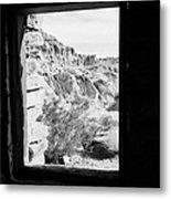 Looking Out Through Window From Interior Of Historic Stone Cabin Built By The Civilian Conservation  Metal Print by Joe Fox