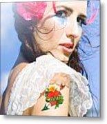 Love Heart And Arrow Tattoo Metal Print
