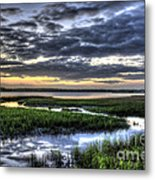 Cloud Reflections Over The Marsh Metal Print