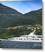Luxury Yacht At The Coast Of French Riviera Metal Print