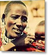 Maasai Baby Carried By His Mother In Tanzania Metal Print