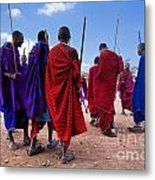 Maasai Men In Their Ritual Dance In Their Village In Tanzania Metal Print