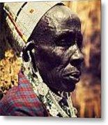 Maasai Old Woman Portrait In Tanzania Metal Print