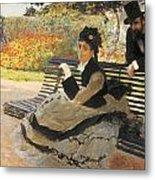 Madame Monet On A Garden Bench Metal Print by Claude Monet