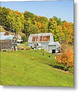 Maine Farm On Side Of Hill In Autumn Metal Print