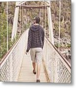 Man On Alexandra Suspension Bridge In Tasmania Metal Print