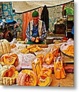 Man Peeling Squash In Antalya Street Market-turkey Metal Print