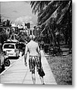 Man Rollerblading Along Ocean Drive Early Morning Art Deco District Miami South Beach Florida Usa Metal Print by Joe Fox