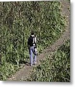 Man With A Canon Camera And Lens In Greenery Metal Print