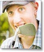 Man With Golf Club Metal Print
