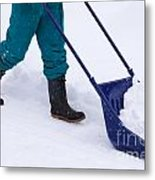 Manual Snow Removal With Snow Scoop After Blizzard Metal Print