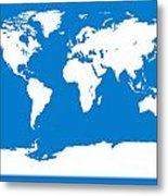 Map In Blue And White Metal Print