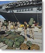 Marines Move Gear During An Embarkation Metal Print