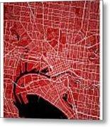 Melbourne Street Map - Melbourne Australia Road Map Art On Color Metal Print