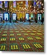 Men Inside The Blue Mosque In Istanbul-turkey Metal Print