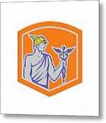 Mercury Holding Caduceus Staff Shield Retro Metal Print