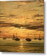 Mesdag's Sunset At Scheveningen -- A Fleet Of Shipping Vessels At Anchor Metal Print