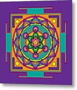 Metatron's Cube Merkaba Mandala Metal Print