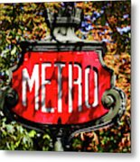 Metro Sign, Paris, France Metal Print