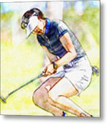 Michelle Wie Reacts After Missing A Putt On The 15th Hole Metal Print